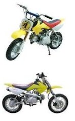 two 50cc dirtbike motorbikes