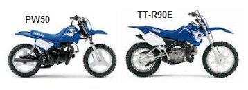 yamaha PW50 and TT-R90E dirt bikes