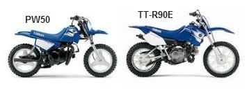 yamaha PW50 and TT-R90E dirt bikes