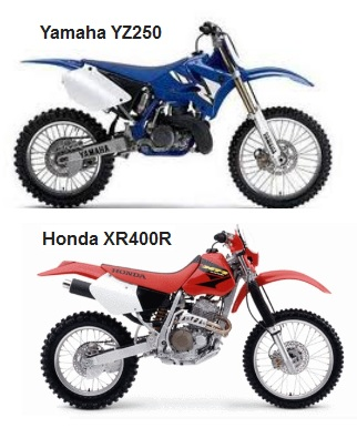 yamaha yz250 and the honda xr 400r